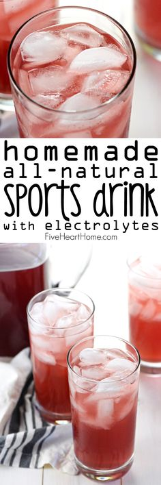 Homemade, All-Natural Sports Drink {Gatorade Copycat Recipe} ~ quench your thirst, hydrate your body, and replenish electrolytes with this easy-to-make sports drink that's free of processed ingredients, artificial sweeteners, and food dyes! | FiveHeartHome.com