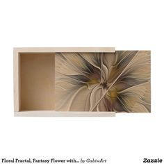 Floral Fractal, Fantasy Flower with Earth Colors Wooden Keepsake Box