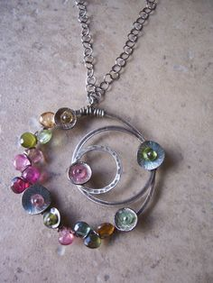 Galaxy, Watermelon Tourmaline Necklace, Tourmaline Jewelry, Circle Pendant with Gemstones. Wire Wrapped Jewelry, Metal Jewelry, Pendant Jewelry, Beaded Jewelry, Handmade Jewelry, Jewelry Candles, Jewellery, Tourmaline Necklace, Gemstone Necklace