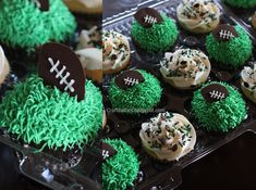 Craftibilities: FOOTBALL cupcakes with chocolate design Football Cupcakes, Taco Party, Layer Dip, Easy Party Food, 10th Birthday Parties, Candy Melts, Chocolate Cupcakes, Fun Drinks, Cupcake Toppers