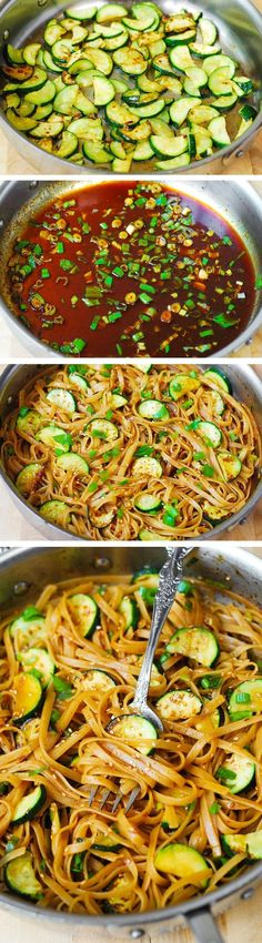 Spicy Thai Zucchini Noodles with toasted sesame seeds. Asian comfort food! Food Ideas, Easy Food Ideas #food #recipe