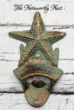 Cast Iron bottle opener // Nautical bottle opener // wall mounted bottle opener // metal bottle opener // Kitchen Decor // Starfish // Beach by TheNoteworthyNest on Etsy