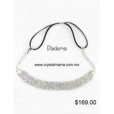 Diadema para cabello en color plateado con cristales estilo 23015