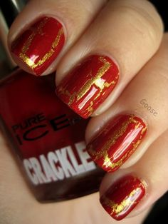 red and gold crackle nail design