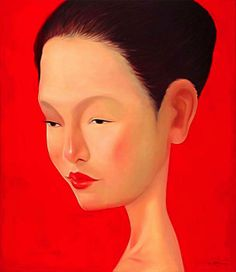 Kowit Wattanarach, Artist at Tusk Gallery Limited Edition Prints, Paper Flowers, Giclee Print, Bangkok Thailand, Gallery, Artist, Movie Posters, Woman, Red