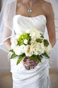 White and green wedding bouquet ... For a Bouquet Guide ... https://itunes.apple.com/us/app/the-gold-wedding-planner/id498112599?ls=1=8  ... The Gold Wedding Planner iPhone App.