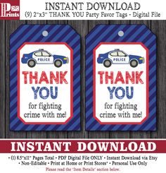Police Birthday Favor Tags - Police Thank You Party Favor Tags - Printable Digital File - INSTANT DOWNLOAD by PuggyPrints on Etsy