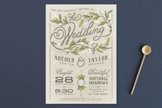 """""""Rustic Love"""" - Rustic, Floral & Botanical Wedding Invitations in Parchment by GeekInk Design."""