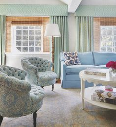 Living Room in Quadrille Aga Reverse Drapes and Veneto Chairs (Peters and Mbiango Interiors)