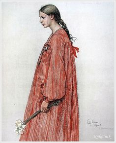 Carl Larsson (Swedish, 1853 – 1919) «Andras Barn. 32 paintings with text» 1913