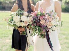 The Secret Garden bouquet formula: Purple clematis, hellebores, sweet peas, quicksand roses, ranunculus, muscari + maiden hair fern. We're madly in love!
