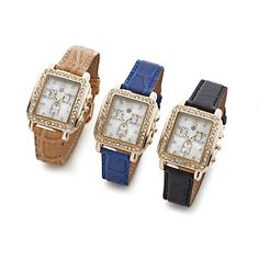 "Starlet Jewelry by Hot in Hollywood® ""Crazy Good"" Croco-Embossed Set of 3 Watches at HSN.com."
