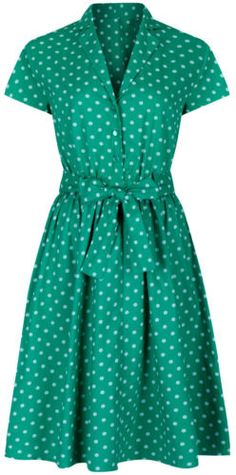 ce7299c1e3d 1940 s Retro Vintage Style Green Polka Dot Belted A-Line Shirt Dress NEW 8  - 28