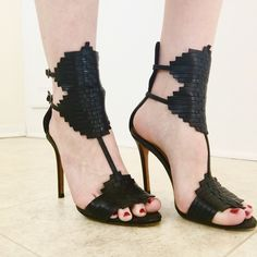 ✨HOST PICK ✨Schutz Ankle Wrap Stiletto Sandals Black leather weaved panels  with 2 ankle d3ba8eb5daa