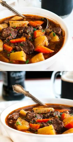 Patrick's Day is less than a week away! Get in the spirit and try this recipe for delicious Slow Cooker Guinness Beef Stew. Slow Cooker Pressure Cooker, Cooks Slow Cooker, Crock Pot Slow Cooker, Slow Cooker Recipes, Crockpot Recipes, Easy Recipes, Guinness Beef Stew, Dinner Dishes, Spirit