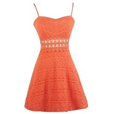 Lace Designs Flowy Sundress in Orange Coral ❤ liked on Polyvore featuring dresses, coral cocktail dress, red dress, summer dresses, orange summer dresses and coral orange dress