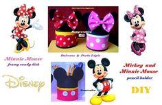 Eu Amo Artesanato: Porta treco Mickey e Minnie com moldes Minnie Y Mickey Mouse, Ideas Geniales, Pencil Holder, Candy Dishes, Disney, Embellishments, Molde, Craft, Jelly Beans