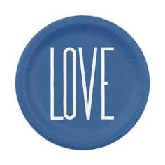 Love Classic Blue Paper Plate