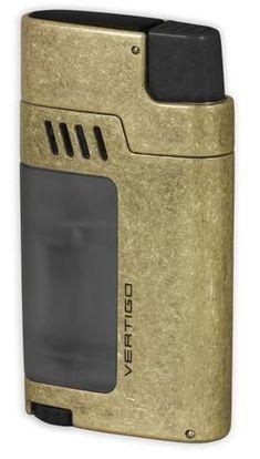 "Vertigo /""Warrior/"" Gunmetal Triple Torch Butane Lighter Cigar Punch"