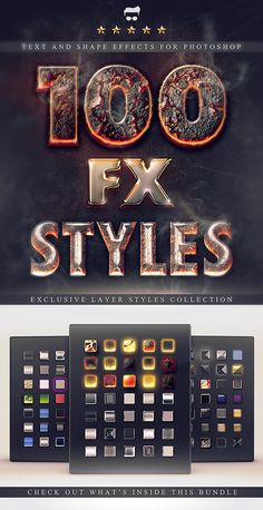 100 Layer Styles Bundle - Text Effects Set. Halloween, Burning, Scary, Flames, Shiny, Gems, bronze, chrome, crazy, elegant, fire, glass, glossy, gold, horror, lava, magma, metal, metallic, silver, smoke, wood etc. Layered PSD, Photoshop ASL.