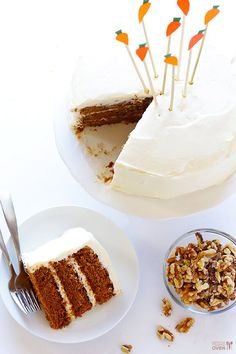 "This vegan and gluten-free carrot cake recipe is moist, flavorful, and tastes just like the real deal! Plus it's topped with a heavenly ""cream cheese"" vegan frosting that's soy-free and made with everyday ingredients. Gluten Free Carrot Cake, Vegan Carrot Cakes, Gluten Free Sweets, Gluten Free Cakes, Dairy Free Recipes, Vegan Recipes, Vegan Treats, Vegan Foods, Vegan Desserts"