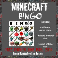 FREE Minecraft Bingo! {for a limited time} - Frugal Homeschool Family