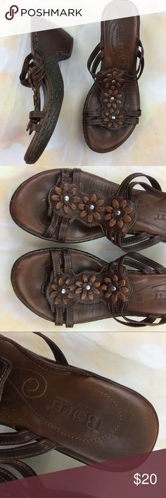 1c2104d48274ed Born leather slip on flower wedge sandals Great condition. Light wear on  back of heel Born Shoes