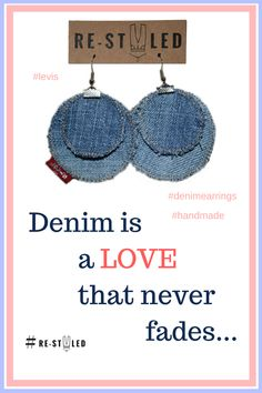 #handmade #denim #earrings #upcycled #etsy  These denim earrings are fully handmade from upcycled denim - old Levi`s jeans and a classic red Levi`s tag.  Circles are cut by hand, sewn together and pierced with stainless steel hooks - every item I make is a fruit of passion and imagination!  Size:  - big circle - diameter 5,5 cm - smal circle - diameter 4 cm