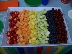 Make this fruit tray into a superhero fruit tray:  Blueberries = Captain America, Strawberries = Spiderman, Honeydew = Green Lantern, Pineapple = Iron Man, Cantaloupe = The Thing, Grapes = Hulk - How cute??