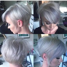 """Beautiful short haircut and icy platinum hair color with touches of blue by @gypsydollhousestudio Loving this total look! #hotonbeauty"""