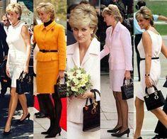 Princess Diana carrying her Lady Dior handbag