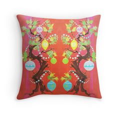 """""""""""The Wretched Tree"""" - Vintage, Christmas, Card, Inspired, Xmas, Ornaments, Red, Tomato, Retro, Holiday, Decorations, Decorating, Decor, Garland """" Throw Pillows by CanisPicta 