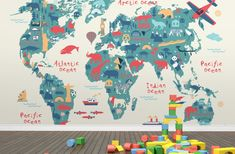 Explorer Kids World Map Mural | MuralsWallpaper.co.uk