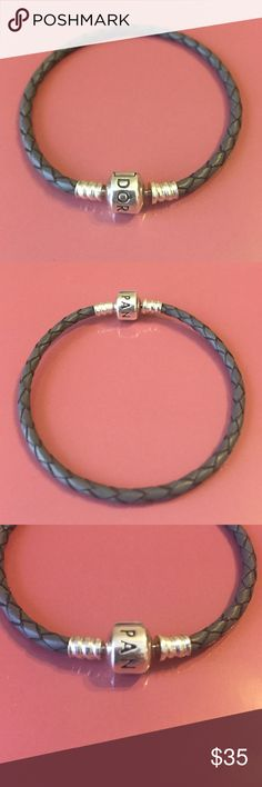Pandora Silver (Gray) Leather Bracelet Retired Silver (Gray) leather pandora bracelet. No scratches on the sterling silver. In brand new condition, comes with original box. Medium size. (Pandora Size: S2 = 19.0cm/7.5in) Pandora Jewelry Bracelets