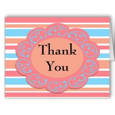 Colorful Thank You Orange Blue Stripes Greeting Cards