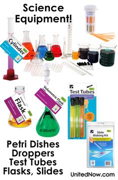 Science Lab Equipment - flasks, test tubes, petri dishes, graduated cylinders, droppers, PH strips and more!  All you need for Science Fair and experiments!