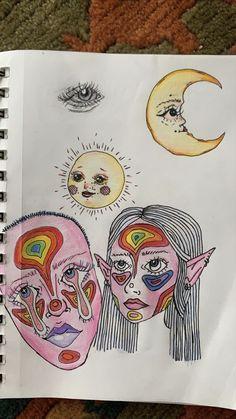 Arte Indie, Indie Art, Trippy Drawings, Art Drawings Sketches, Arte Punk, Gcse Art Sketchbook, Doodle Art Designs, Psychedelic Art, Aesthetic Art