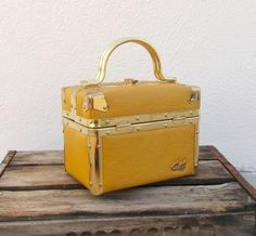 Vintage Mustard Yellow Epi Leather Boxed Lunchbox Handbag from Picsity.com