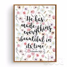 Bible Verse Canvas Art print Poster, Christian Verses for the Wall Decoration Nursery Bible Verse, Flowers Wall Picture CM028-1