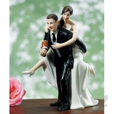 Playful Football Couple Cake Topper