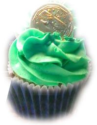 Luck 'O' The Irish Cupcake - Leprechaun Vanilla Cake Topped with Green Vanilla Frosting, Magic Leprechaun Dust and a Gold Chocolate Coin