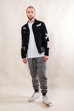 Denim Jacket Patches, Denim Jacket Men, Bomber Jacket, Men's Denim, Distressed Denim, Denim Jacket Fashion, Mens Joggers, Sherpa Lined, Jacket Style