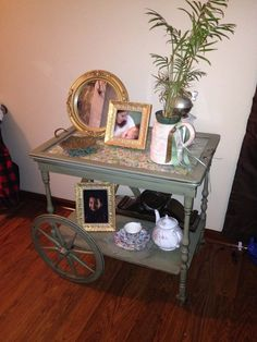 Antique tea cart painted and glazed.