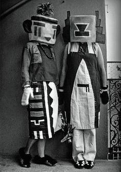 Sophie Taeuber & Erika Taeuber  in Kachina costumes made by Sophie, 1922