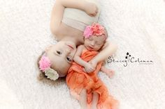 newborn sibling photography (cute to have penelope in just a scarf...