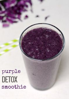 This Purple Detox Smoothie is a deceptively delicious recipe that will help detoxify your body. Nobody will taste the cabbage or kale! Try this drink for breakfast or a snack.