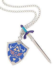 The Legend Of Zelda Sword and Shield Necklace,