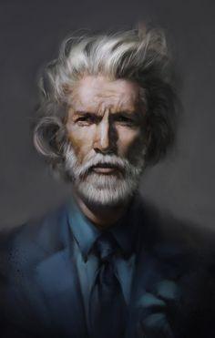 Man's white hair rendition (Darya Talipova) #painting