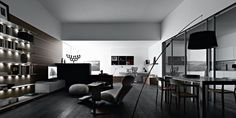 Setting 2 :: Valcucine Living: The living room designed in a single room with kitchen cabinet Ligne Roset, Natural Wood Furniture, Glass And Aluminium, House Sketch, Inner World, Interior Decorating, Interior Design, Furniture Making, House Tours