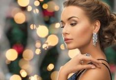 people, holidays and glamour concept - beautiful woman in evening dress wearing ring and earrings over christmas lights background Party Hairstyles, Formal Hairstyles, Christmas Lights Background, How To Wear Rings, Fashion Poses, Party Looks, Stylists, Beautiful Women, Glamour